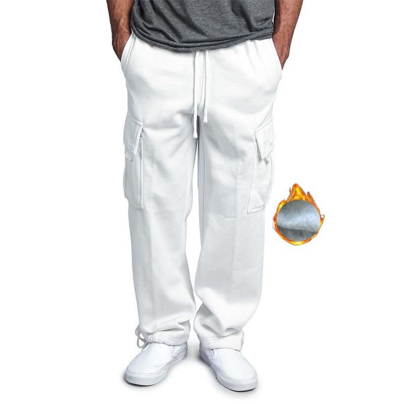 2019 Multi poche hiver pantalon hommes blanc Cargo pantalon polaire Hip Hop gris pantalons de survêtement mâle casual tactique pantalon Homme