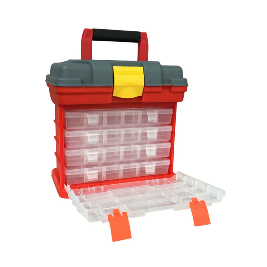 Portable Plastic Tool Storage Box Durable Organizer Box, 4 Drawers With 18 Compartments Each For Hardware, Fish Tackle, Beads