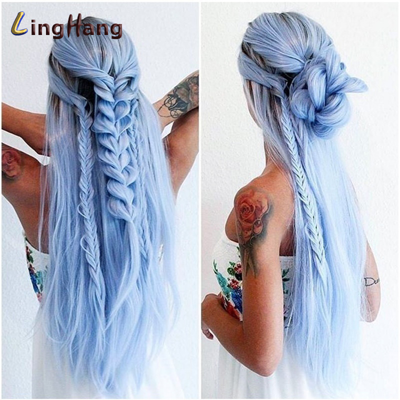 Linghang Ombre Blue Straight Long Synthetic Wigs For Women Black Pink Wigs 24 Inch 11 Color Can Be Cosplay Wigs
