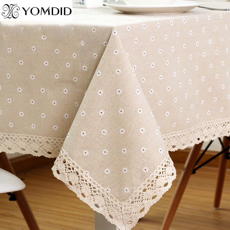 Daisy Flower Pattern Tablecloth Hot Sale Linen and Cotton Lace Edge Rectangular Table Cloth