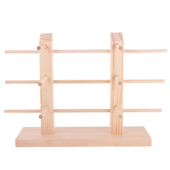 Natural Wood Rack Stand Sunglasses Eyeglass Display Holder 2-Row 3/4/5 Layers image