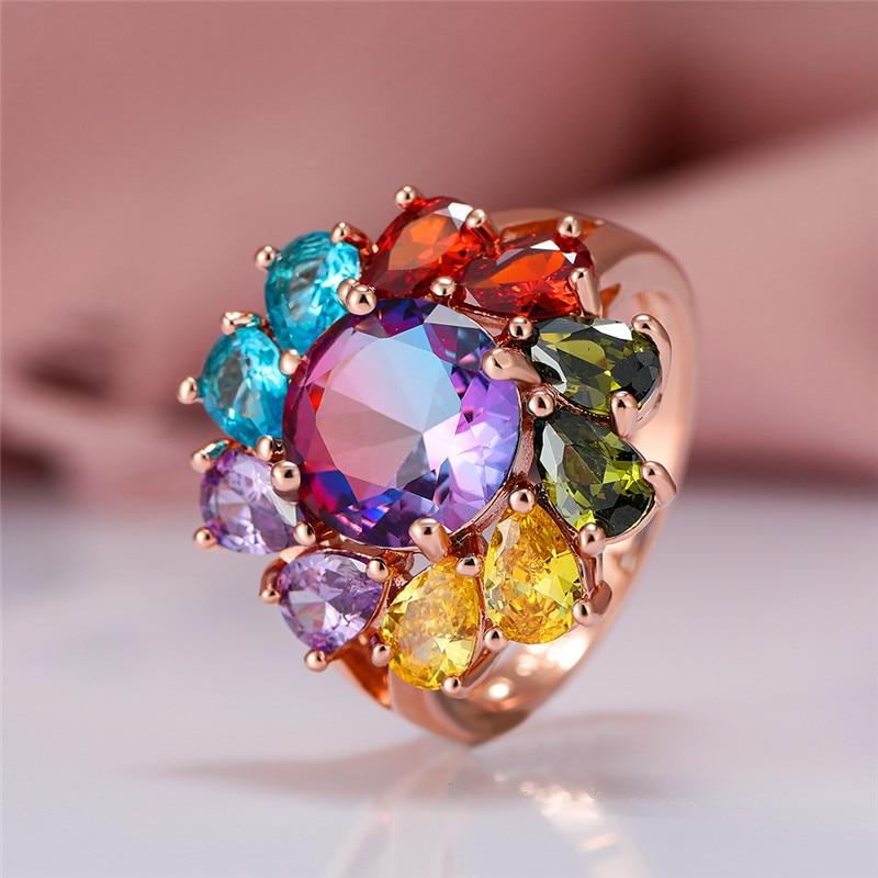 Винтажная Женская обувь в Стиле Радуги круглое кольцо с кристаллом, классические цвета розового золота Цвет обручальные кольца для женщин ...