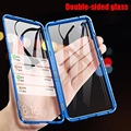 Double Side Metal Magnetic Glass Case For Xiaomi Redmi Note 9s 8 7 Pro Phone Cover For Xiaomi Redmi 8 K20 K30 Mi 10 9T Flip Case