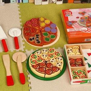 Image 1 - Juego de simulación de juego de simulación de madera para niños, Kichen, Pizza de corte, juguete de cocina de rol, Juguetes de desarrollo para edades tempranas, 27 Uds.