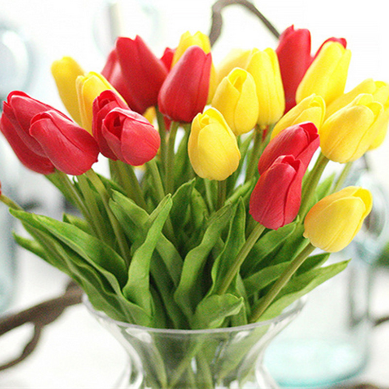 1PC PU Mini Tulips Artificial Flowers For Home And Wedding Decoration Flowers 8
