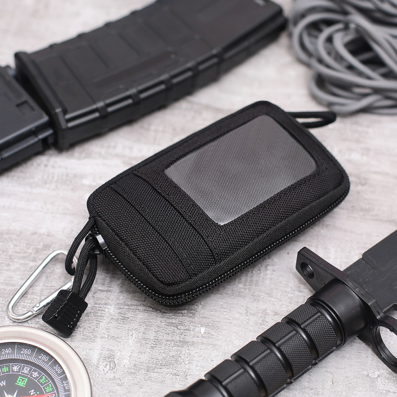 Waterproof EDC Pouch Portable Tactical Key Change Purse Wallet Mini Purse Card Slots Zippers Outdoor Tools