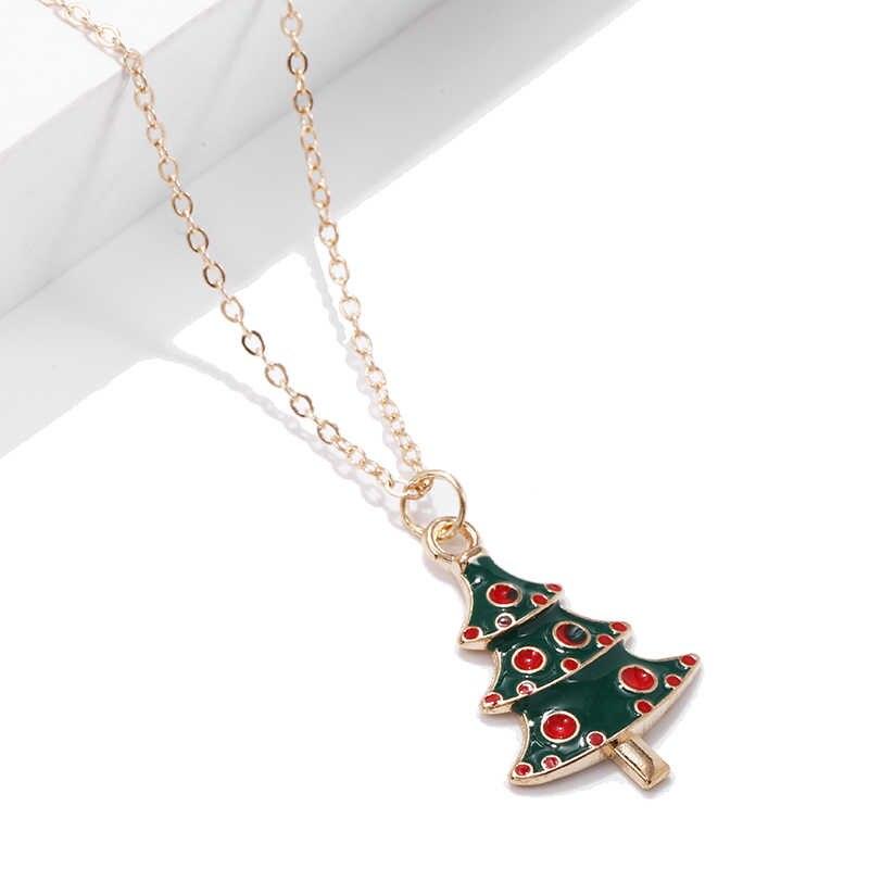 Prezent na boże narodzenie święty mikołaj girlanda na choinkę płatki śniegu naszyjniki wisiorki złoty łańcuszek Chokers naszyjniki dla kobiet biżuteria