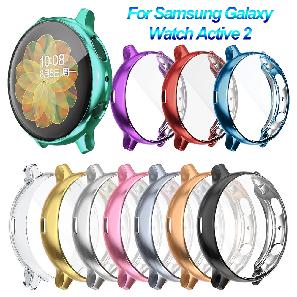 Ultra Thin Electroplate TPU Protective Watch Case Full Cover Screen Protector For Samsung Galaxy Watch Active 2 40 44mm