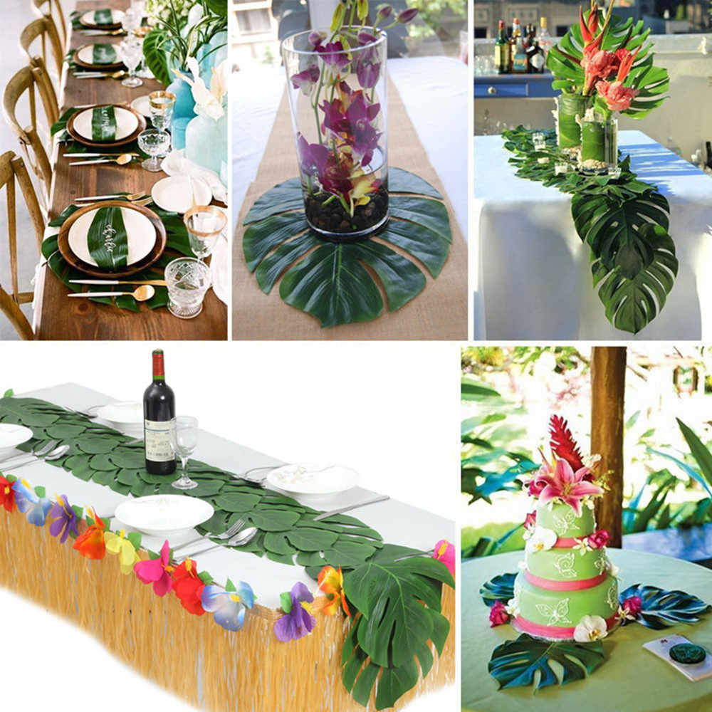 12pcs/Lot Fabric Artificial Tropical Palm Leaves Simulation Monstera Leaves Hawaiian Luau Party Jungle Beach Theme Table Decor