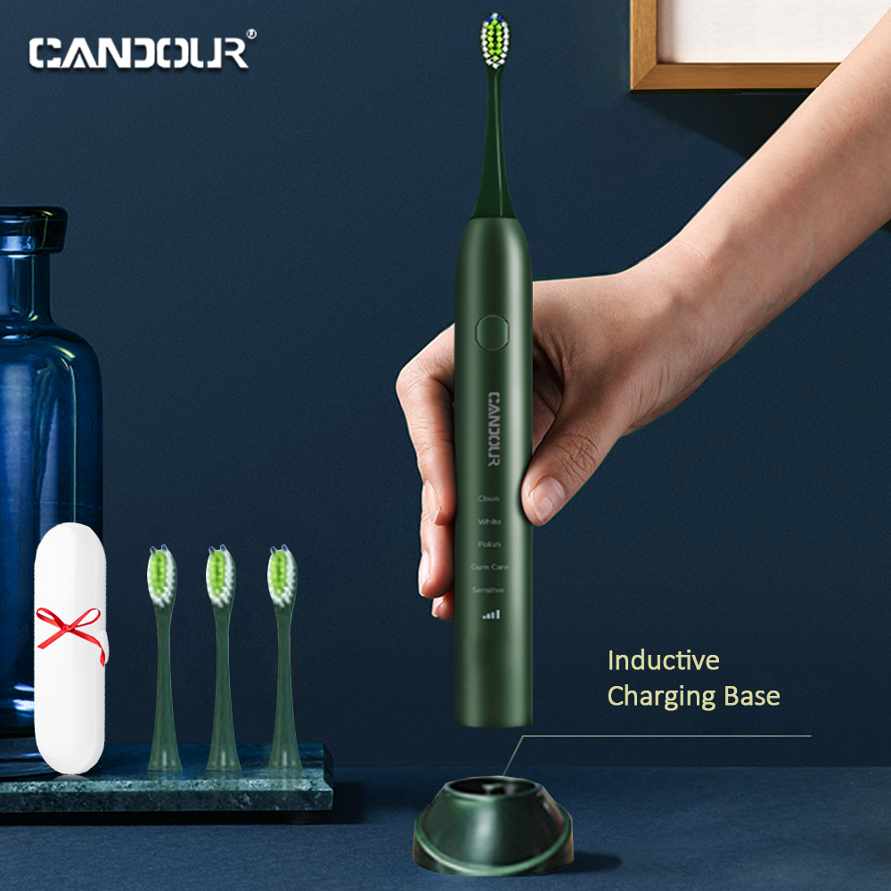 CANDOUR CD-5133 electric toothbrush Rechargeable Sonic Toothbrush Automatic with 16pcs Replacement Brush Head ipx7 waterproof