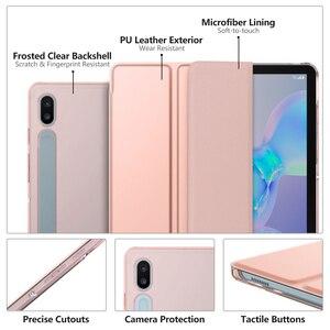Image 4 - Чехол для Samsung Galaxy Tab S6 10,5 2019, ультратонкий тройной складной чехол подставка с матовой задней стенкой и функцией автоматического пробуждения и сна