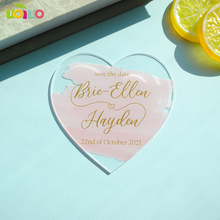 Acrylic-Card Invitation-Cards Custom Wedding-Save Heart-Shape Be Could Color-And-Content