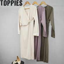 2020 new arrival elegant satin party dress women long sleeve v-neck midi dress solid color front folds