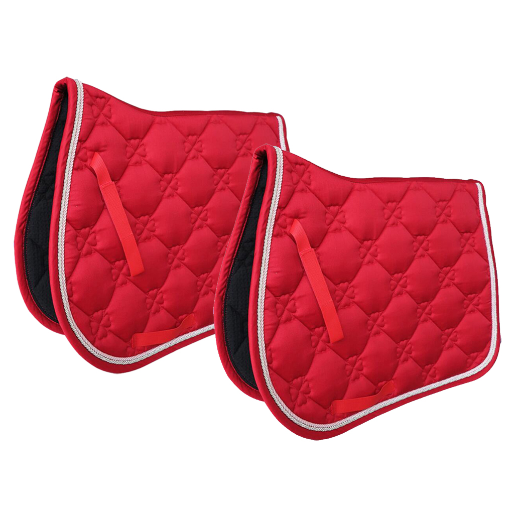 2 Pcs Square Quilted Cotton Comfort English Saddle Pad Horse Riding Pad Red