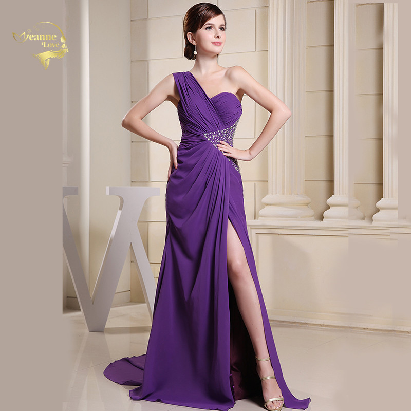 Purple One Shoulder Formal Evening Dresses 2020 New Cut Out Sexy Crystal Split Front Beach Clubbing Prom Gown for Wedding Party