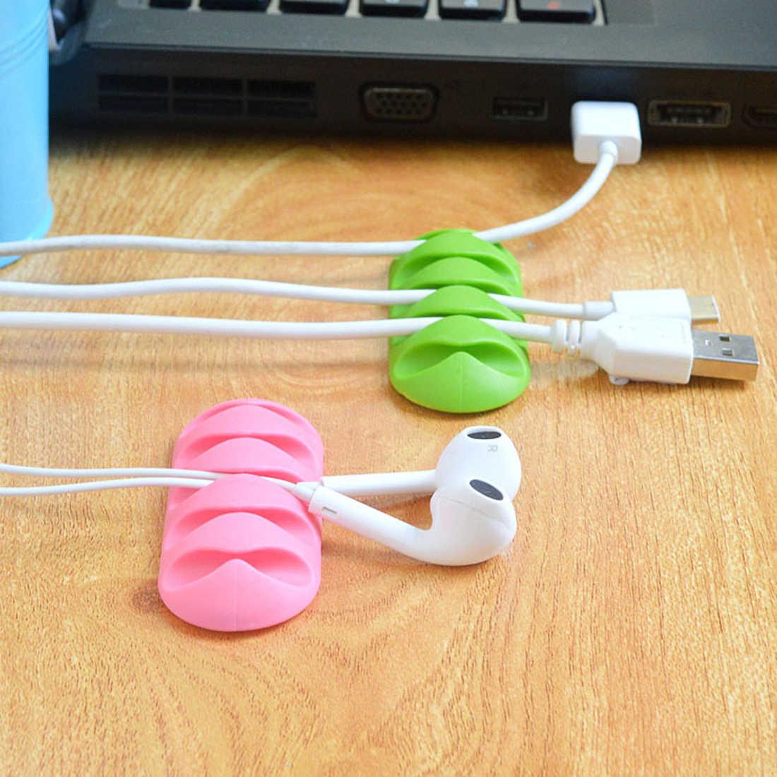 Zacisk do kabli oplot na kable organizator do kabla od słuchawek do przechowywania drutu krzemu ładowarka klipsy do kabli dla MP3 MP4 słuchawki