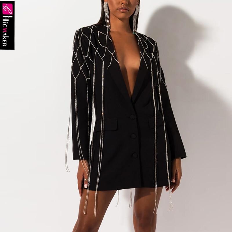 Women Tassel Sequined Chain Design Notched Lapel Balzer Collar Single Breasted Chic Elegant Office Lady Fall Elegant Blazer