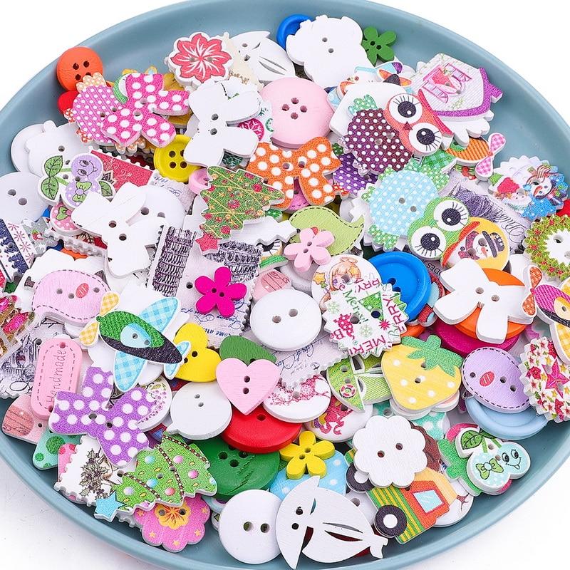 Rapture 50pcs Mix Shape Lots Colors Diy Scrapbooking Cartoon Buttons Plastic Buttons Children's Garment Sewing Notions