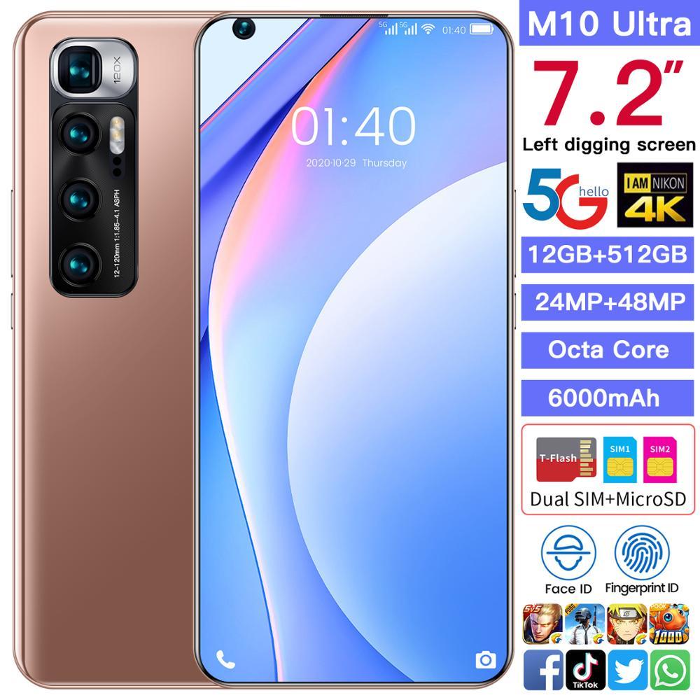 Teléfono Inteligente M10 Ultra, versión Global, 7,2 pulgadas, 12/512GB, Android 10, pantalla completa, 4G, 5G, teléfono móvil con doble SIM, ocho núcleos