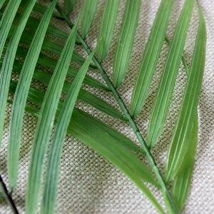 Image 5 - 90 センチメートルグリーン人工ヤシの葉プラスチック植物ガーデンホーム装飾コガネバナ熱帯木フェイク植物