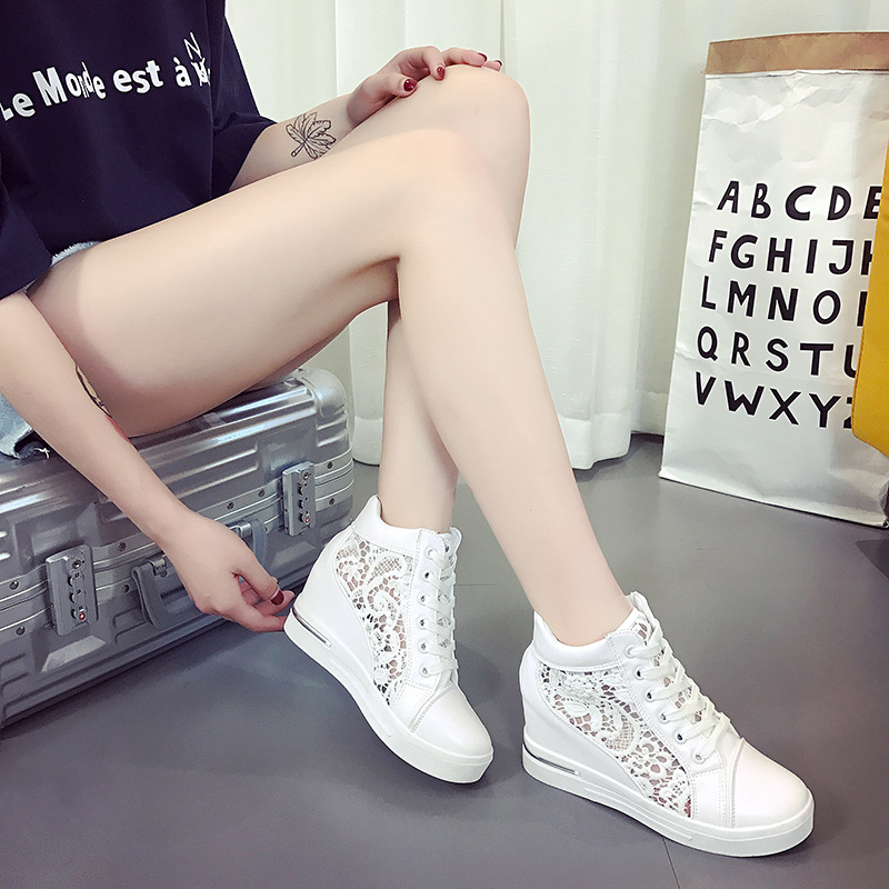 TEMOFON women shoes summer women sneakers height increasing white casual shoes ladies breathable mesh wedges sneakers HVT1188