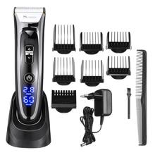 Машинка для стрижки волос SURKER, Аккумуляторный триммер со светодиодным дисплеем, бесшумный керамический нож, быстрая зарядка, европейская вилка