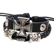 Trendy Double Woven Leather Bracelet Classic Men's Personality Retro Cross Leather Bracelets Male Jewelry Gifts cross layered faux leather bracelet