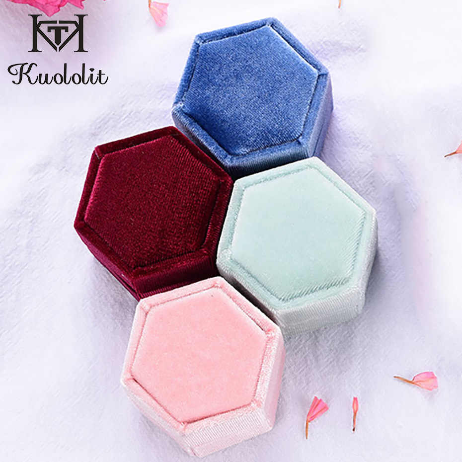 Kuololit 5PC/lot Velvet Hexagon Jewelry Boxes for Women Red pink green blue Ring Boxes for Wedding Engagement Bridal Gift New