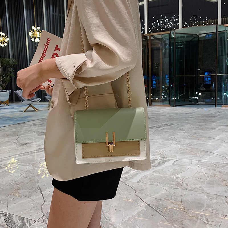 British Fashion Sederhana Persegi Kecil Tas Wanita Desainer Tas Tangan 2020 Berkualitas Tinggi Pu Kulit Rantai Ponsel Bahu Tas