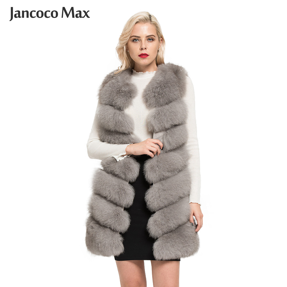 Jancoco Max 2019 New Real Fox Fur Vest High Quality Women's Waistcoat Winter Coat 7 Rows Thick Warm Gilet S7161