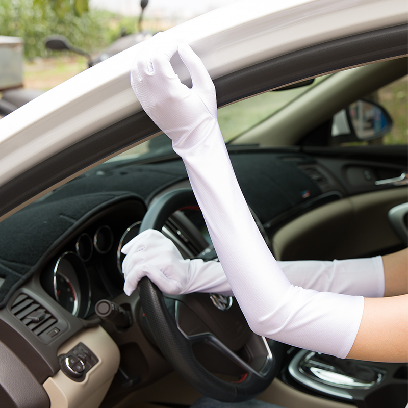 White Satin Long Gloves Summer Sun Protection Driving Gloves Opera Evening  Party Prom Ladies Gloves