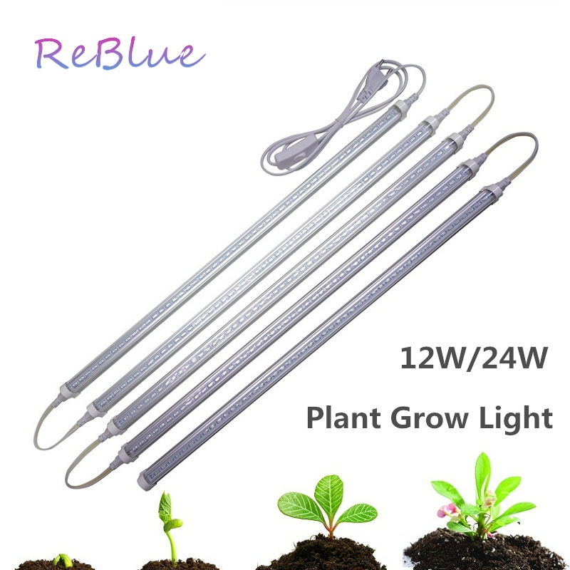 ReBlue Plant Grow Light Phyto Lamps Led Grow Light Full Spectrum Grow Lamp For Flower Fitolampy 12W 24W Lamp For Plants Aquarium