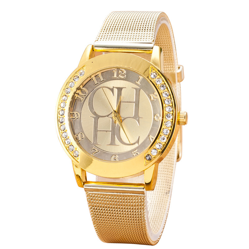 And The United States Sell Like Hot Cakes Hot Style CHHC Fashion Lady Set Auger Golden Steel Band Digital Quartz Watch