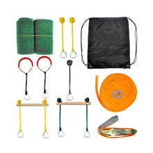 Ninja Lijn Opknoping Hindernisbaan Ninja Warrior Training Apparatuur Voor Kinderen 12M Slackline Aap Bars Gymnastiek Ringen Vuisten Kit