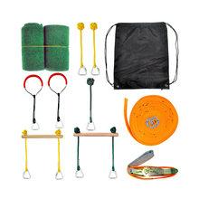 Linha ninja pendurada em obstáculo, curso, guerreiro ninja, equipamento de treinamento para crianças, 12m, conjunto de anéis de macaco, barras de ginástica