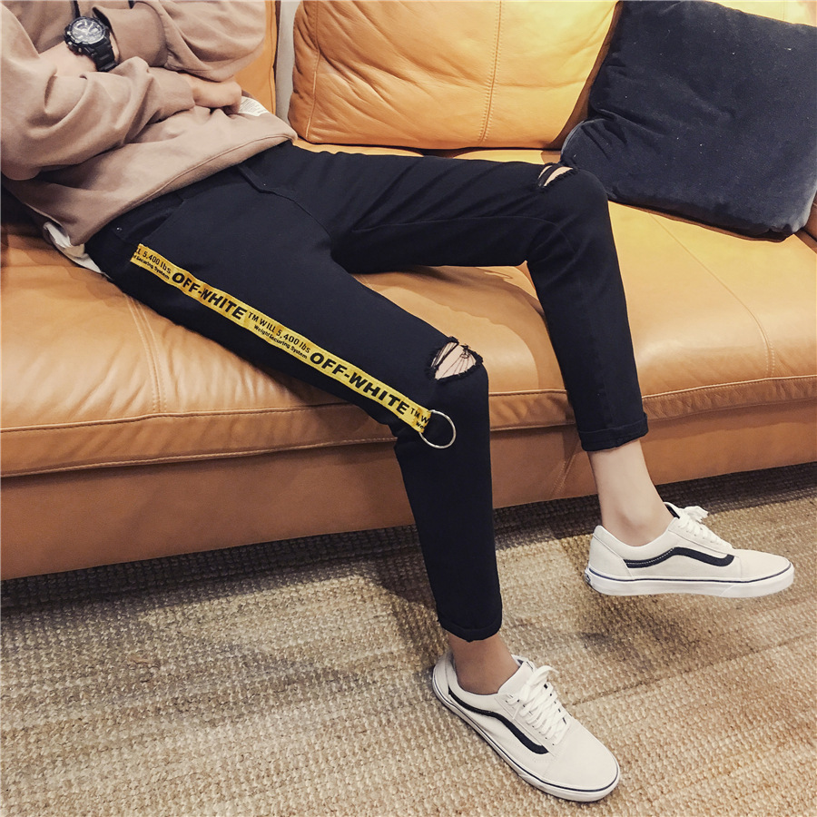 MEN'S Jeans With Holes Webbing Capri Pants Autumn New Style Black And White With Pattern Cowboy Pants Korean-style Trend Skinny