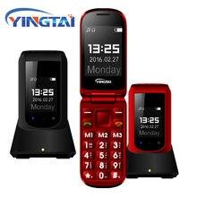 Carregador de mesa livre flip recurso telefone móvel yingtai t09 gsm grande botão de pressão dupla tela clamshell telefone celular mais velho