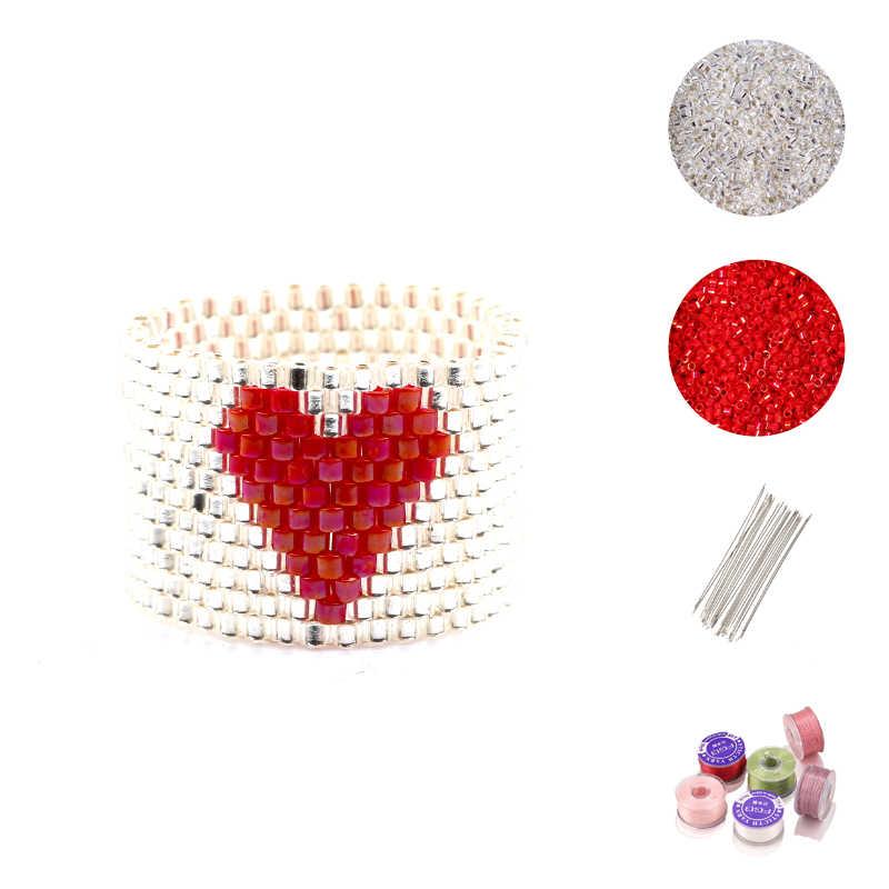 FAIRYWOO מתוק לב טבעות DIY אביזרי תכשיטי טבעת ערכת Delica מיוקי טבעת עבור נשים מאהב מתנות יוקרה ידידות סיטונאי