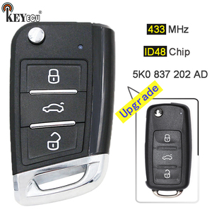 KEYECU 434MHz ID48 Chip 5K0 837 202 AD Upgraded Remote Key Fob 3 Button for VW Volkswagen Beetle Passat Caddy Eos Polo Jetta