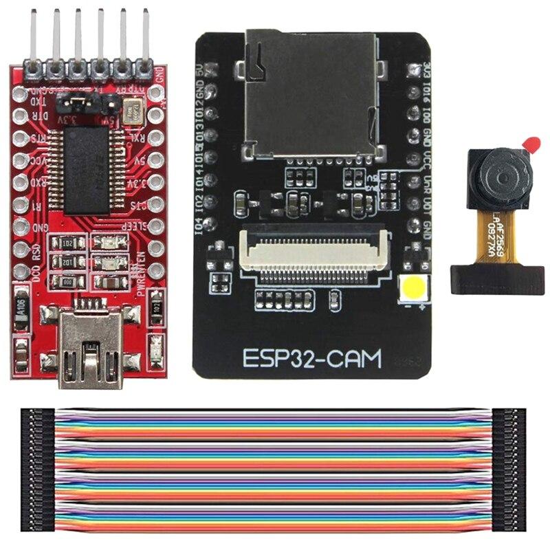 Esp32-Cam Camera Wifi + Bluetooth Module 4M Psram Dual Core 32-Bit Cpu Development Board Ov2640 2Mp Camera Module + 8Dbi Wireles
