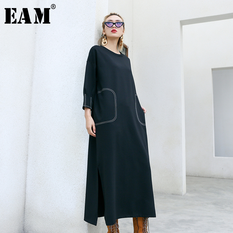 [EAM] Women Black Vent Split Big Size Dress New Round Neck Three Quarter Sleeve Loose Fit Fashion Tide Spring Autumn 2020 1N813