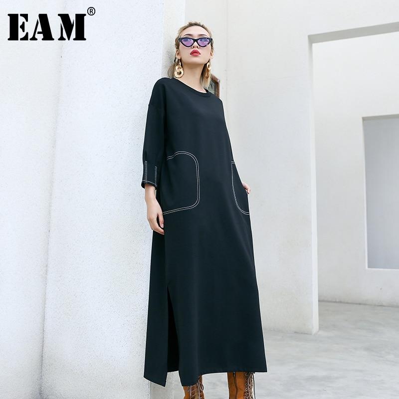[EAM] Women Black Vent Split Big Size Dress New Round Neck Three Quarter Sleeve Loose Fit Fashion Tide Spring Autumn 2020 1N813