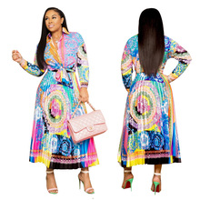 New 2019, fashionable European and American style, personalized artistic printing pattern, casual shirt skirt