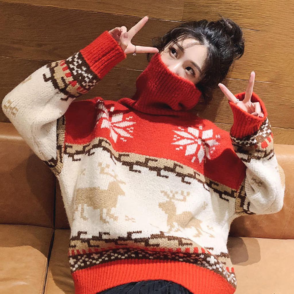jersey christmas sweater women O-Neck Long Sleeve Merry Christmas Elk Print Knit Sweater Pullover  pull femme nouveaute 2020