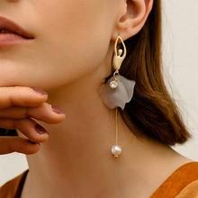 Long Tassel Korean Earrings Ladies Fashion Pink White Thin Slice Imitation Pearl Elegant Temperament Jewelry P5E789