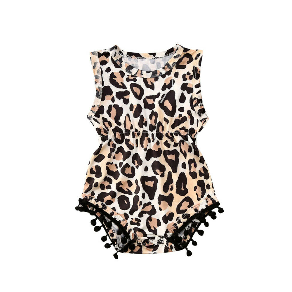 Leopard Newborn Infant Baby Girls Romper Summer Sleeveless Jumpsuit Cute Pom Pom Sunsuit Playsuit Baby Girl Costumes