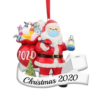 2020 Merry Christmas Santa Claus Hanging Ornament Wearing A Face Mask Decorate Christmas Tree Xmas Decorating Pendant image
