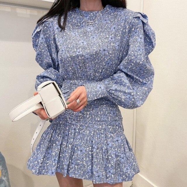 Retro Fashion Flower Print Women Casual O-Neck Puff Long Sleeve Dress 2021 Summer Casual Ruffles Beach Short Dress 1