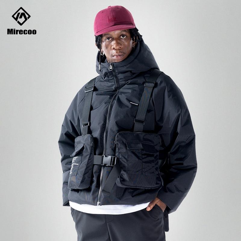 Techwear Tactics Multi-Function Hooded Men Jacket Parka Detachable Bags Winter Parka Hip Hop Streetwear Trench Coat Windbreaker