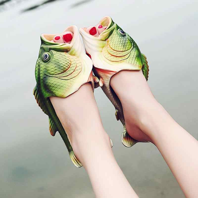 Unisex Shoes Creative Funny Fish-shaped Couple Summer Outdoor Slippers Men And Women Beach Shoes